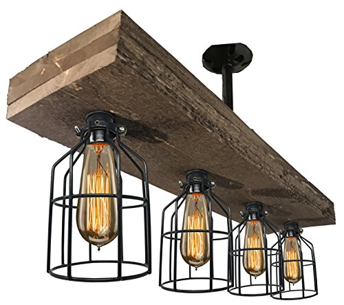Farmhouse Lighting Triple Wood Beam Vintage Decor Chandelier Light - Great in Kitchen, Bar, Industrial, Island, Billiard, Foyer and Edison Bulb. Wooden Reclaimed Rustic Four Light With (Distressed Black Ceiling Mounts)