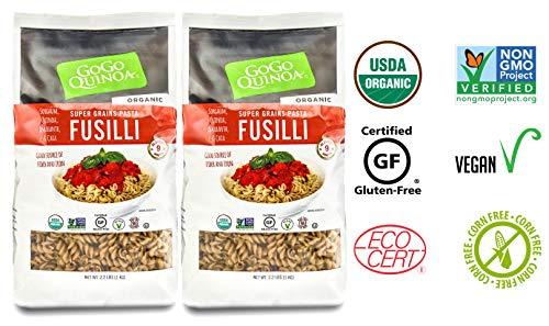 Quinoa Gluten Free Pasta - GoGo Quinoa Organic Supergrains Fusilli Pasta, Vegan, Gluten Free Dry Pasta, 35.2 oz x 2