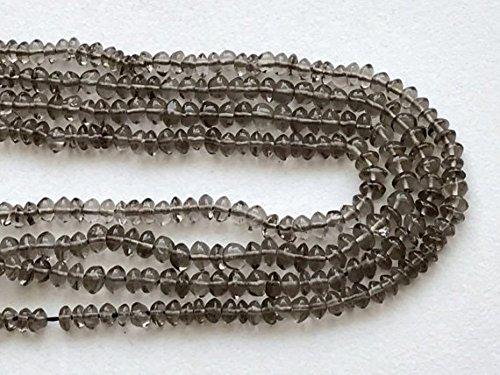 - JP_Beads 1 Strand Natural Smoky Quartz Plain Button Rondelles, Smoky Quartz Beads, Smoky Quartz Necklace, 4-4.5mm, 13 inch