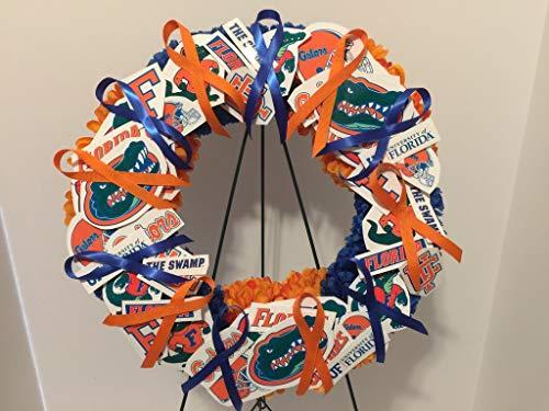 Florida Gators Flower - COLLEGE PRIDE - SPIRIT - UOF - UNIVERSITY OF FLORIDA - GATORS - ALBERT & ALBERTA - DORM DECOR - DORM ROOM - COLLECTOR WREATH - ORANGE DAHLIAS & BLUE CARNATIONS