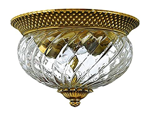 Hinkley 4102BB Traditional Two Light Flush Mount from Plantation collection in Brassfinish, - Mount Rubbed Brass