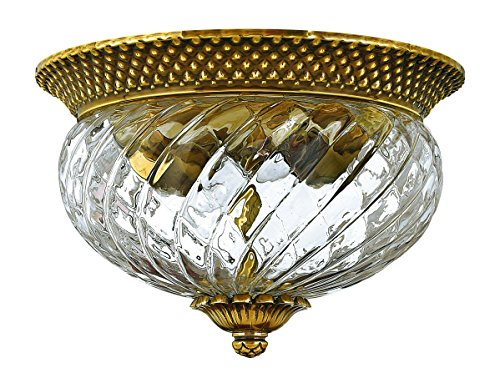 Hinkley Brass Light Fixture (Hinkley 4102BB Traditional Two Light Flush Mount from Plantation collection in Brassfinish,)