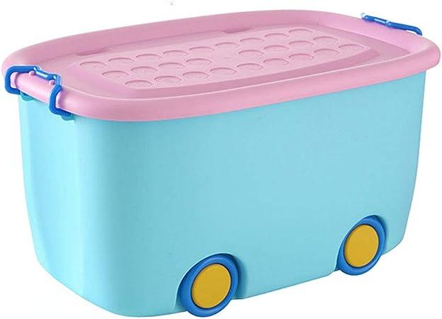 ZDD Caja de almacenaje- Caja de Juguetes de plástico para niños, Caja de Almacenamiento de Dibujos Animados para el hogar (Color : Azul, Tamaño : L58xW38XH30cm): Amazon.es: Hogar
