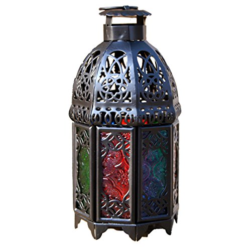 Ivenf Moroccan Style Matte Black Cast Iron Handmade Octagonal Candle Lantern with Multicolor Textured Glass, Great Decoration for Living Room, Balcony, Patio, Porch & Garden