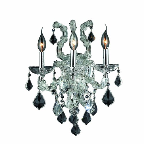 Crystal Bellacor Sconce (Worldwide Lighting Lyre Collection 3 Light Chrome Finish and Clear Crystal Candle Wall Sconce 15