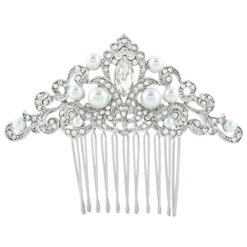 EVER FAITH Silver-Tone Austrian Crystal Cream Simulated Pearl Wedding Flower Vine Hair Side Comb Clear