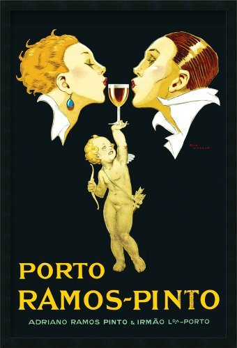 FRAMED GEL-COATED Porto Ramos Pinto French Vintage 36x24 Art Print Poster Drinking Cupids love nectar Advertising Champagne
