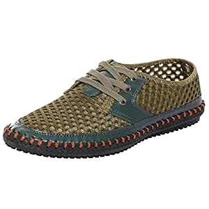 UJoowalk Men's Casual Breathable Flexible Outdoor Lace up Sneakers Quick Drying Mesh Aqua Water Shoes (11 D(M) US, Army Green)