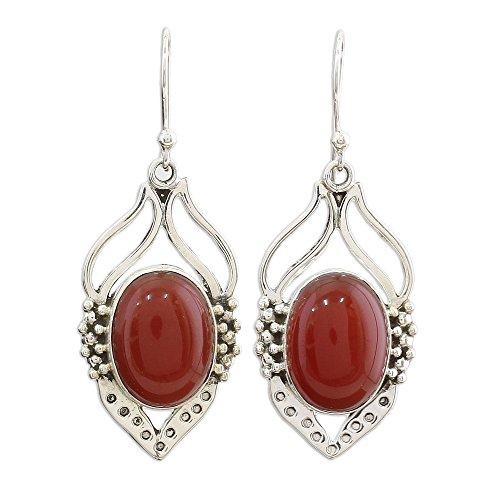 NOVICA Carnelian .925 Sterling Silver Dangle Earrings, Passion Leaf'