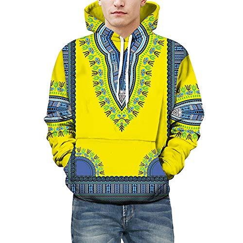 Men's Hoodies, FORUU Lovers Autumn Winter African 3D Print Long Sleeve Dashiki Sweatshirt Top ()