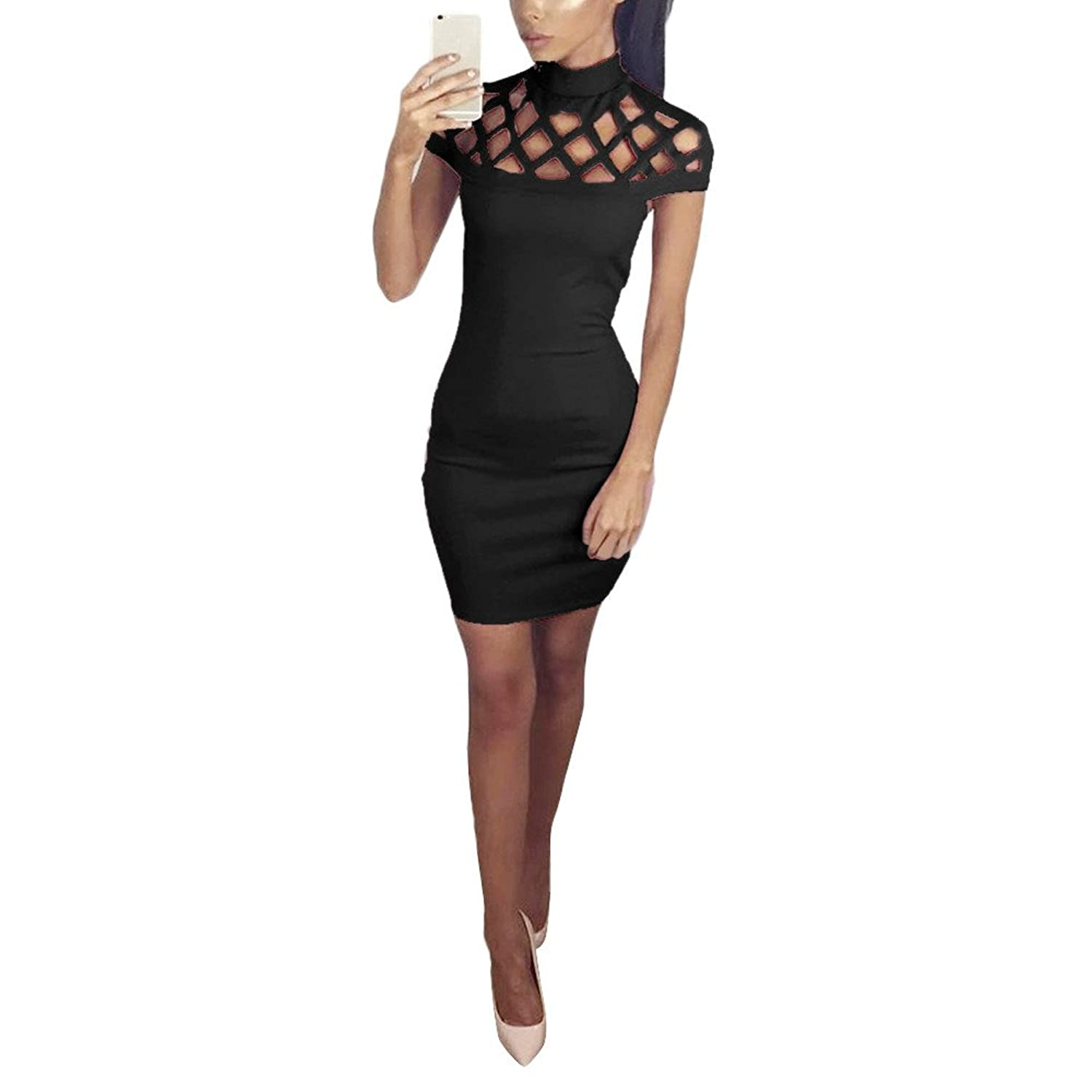 @ KESEE Womens Choker High Neck Bodycon Ladies Caged Sleeves Mini Dress