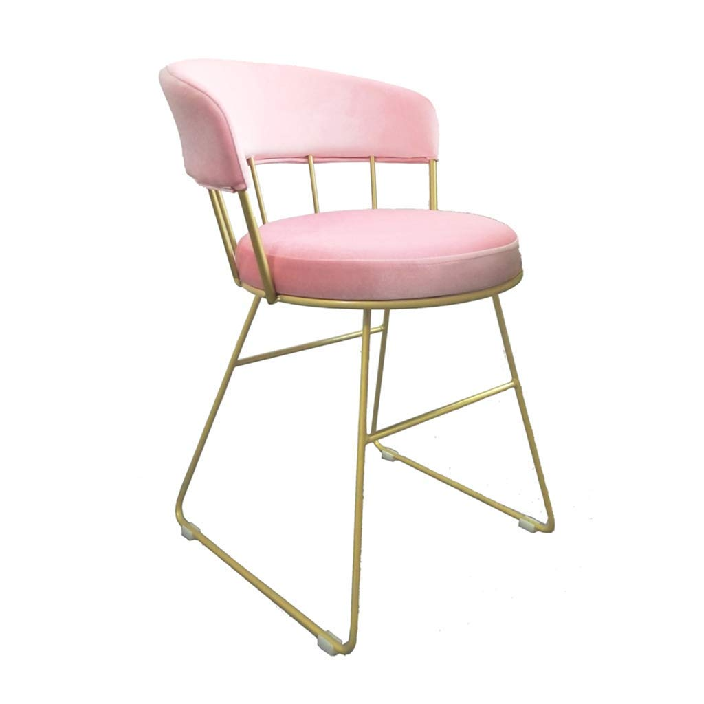 Makeup ChairFlannel Iron Art Bar Stool,Creative Vanity Chair 1pcs Non-Slip for Restaurant Club Balcony Bar Stool Lounge