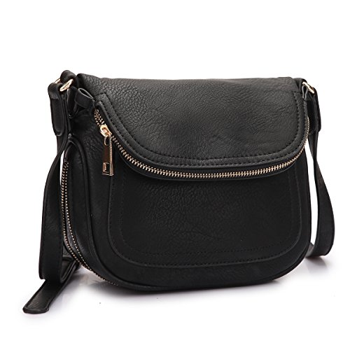 Leather Flap Bag Purse (Dasein Women Small Multipockets Crossbody Messenger Bags Shoulder Bags with Folded Front Flap)