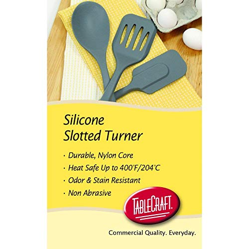 """Tablecraft H3905GY Silicone Tools 12"""" Heat-Resistant Turner -2 Pack"""