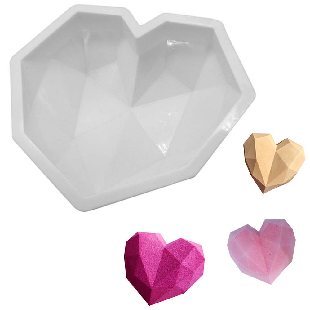 Diamond Heart Love Mousse Cake Mold Trays Silicone Baking Pan-Food Grade & BPA Free-Not Sticky Mould Suitable for Mousse Cheesecake Jelly Ice Cream