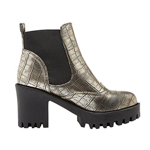 Estimado Time Mujeres High Block Heels Botines De Oro
