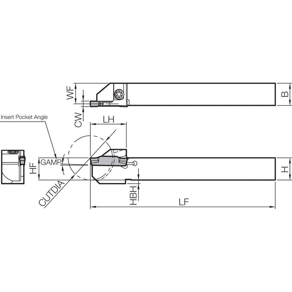 External Grooving Toolholder with a 48.00mm Max Depth of Cut for Small Diameter Grooving and Cut-Off Applications Kyocera KGDR 1212JX2 Right-Hand