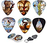 Unique Guitar Picks Premium Gift Set Of 12 Picks With Stunning Surreal Artwork Inspired By Salvador Dali, Complete W/ Tin Box, Leather Keychain Pick Holder| Best Guitar Player Gift – Limited Time Deal