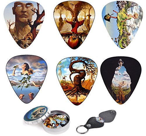 Surreal Art Guitar Picks 12 Pack W/ Tin Box & Picks Holder. Celluloid Medium Artworks Inspired By Salvador Dali Perfect Gift For Guitar Lover By Art Tributes