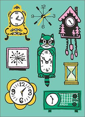 Lots of Clocks A*Press Birthday Card