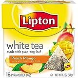 Lipton White Tea Pyramids, Peach Mango 18 ct (Pack of 6)