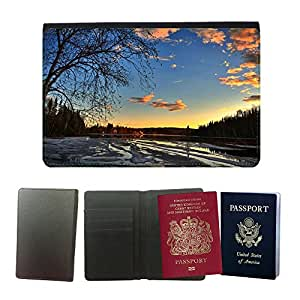 Super Stella PU Leather Travel Passport Wallet Case Cover // M00421847 Thaw Sunset Ice Tree Clouds Nature // Universal passport leather cover
