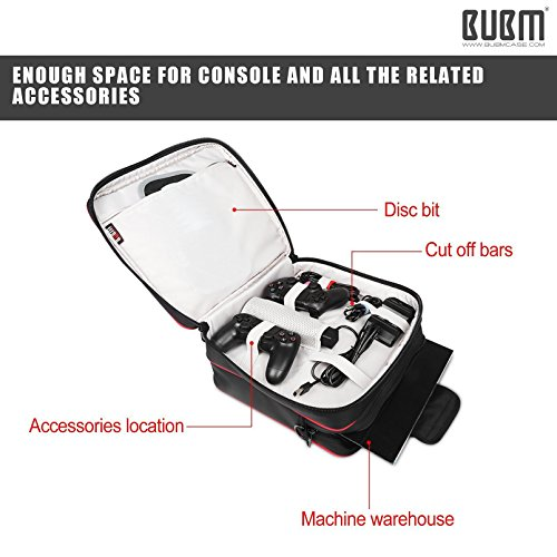 PS4 Slim Controller Carrying Case - BUBM Travel Shoulder Bag Portable Shell Case Protective Storage Bag for PlayStation 4,PS4 Slim,PS3 Consoles,Games,Headset,Including Shoulder Strap,2-Year Warranty