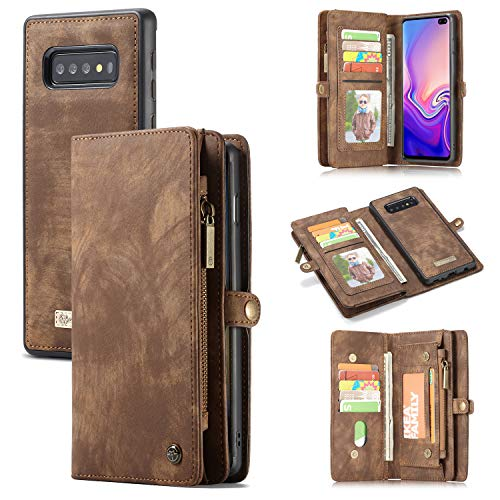 (Galaxy S10 5G Wallet Case,AKHVRS Premium Leather Folding Flip Wallet Case Cover for S10 5G Card Slots Magnetic Closure Protective Cover Detachable Wallet Folio for Samsung Galaxy S10 5G 6.7