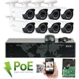 GW Security 8 Channel 5MP NVR HD 1920P IP PoE Security Camera System with 8 Outdoor /Indoor 2.8-12mm Varifocal Zoom 5.0 Megapixel 1920P Cameras, QR Code Easy Setup, Free Remote View