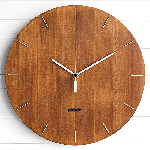 The OVAL - 12 Inch Round Industrial Wooden Wall Clock for Home and Office, Geometric Modular Design in Modern Style with Silent movement, by Paladim Handmade