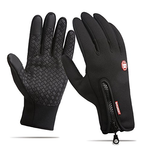 Xl Warm Metals (Winter Outdoor Cycling Windproof Men Women Warm Touch Screen Driving Gloves,Black,XL-Plam width:3.54in)