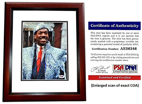 Eddie Murphy Signed - Autographed Coming to America - Prince Akeem 8x10 inch Photo - MAHOGANY CUSTOM FRAME - PSA/DNA Certificate of Authenticity (COA) from PSA