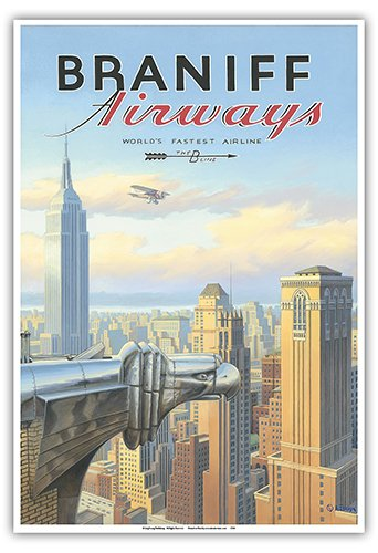 Pacifica Island Art New York - Braniff Airways - Chrysler Building - Vintage Style Airline Travel Poster by Kerne Erickson - Master Art Print - 13 x 19in -