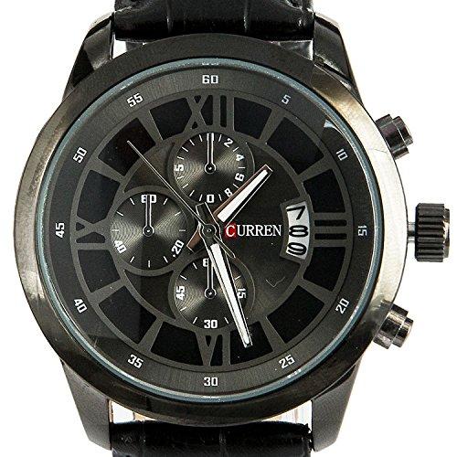 KTC Black Case Decorative Chronograph Quartz Leather Strap Businss Style Fashion Wrist Watch