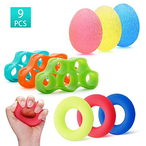 Wrist Strengthener - Finger Strengthen Hand Grip Exerciser Stress Relief Therapy Balls Kits Grip Strengthener Trainer Workout Relieve Wrist Pain Carpal Tunnel Decompression Toy 9 PCS
