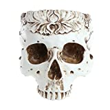 Techinal Resin Gothic Skull Head Plant Flower Pot Planter Container for Home Bar Halloween Chrismas Ornament Decor