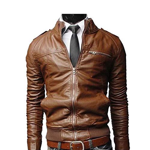 Baguet Men Classic Motorcycle Leather Jacket Slim Fit Stand Collar Leather Biker Zipper Jacket
