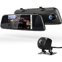 ドライブレコーダー バックミラー型 前後カメラとも170度広角 1080PフルHD 7インチタッチパネル Gセンサー HDR夜視機能/前後録画/駐車補助/駐車監視/エンジン連動/常時録画/ループ録画/取付簡単 デジタルインナーミラー ドラレコ デュアルドライブレコーダー ミラーモニター (1)