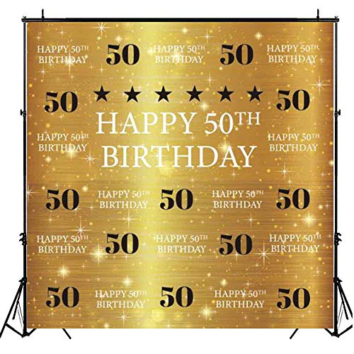 Funnytree 8X8ft Gold 50th Birthday Photography Backdrop Adult Step and Repeat Golden Glitter Shiny Background Fifty Years Old Age Party Decoration Photo Banner Photobooth Props