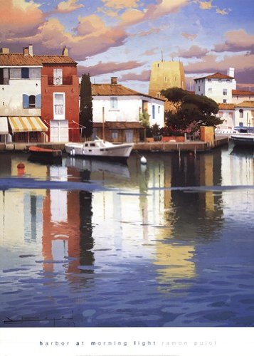 (Harbor at Morning Light by Ramon Pujol - 26x36 Inches - Art Print Poster)