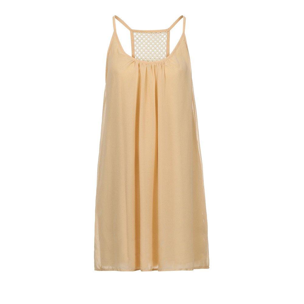 aiNMkm Long Dress with Slit,Fashion Women Spaghetti Strap Back Howllow Out Summer Chiffon Beach Short Dress,Beige,S