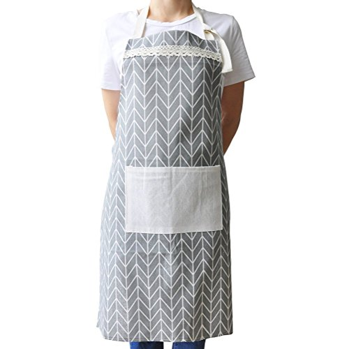 (VANRICH LDG Kitchen Apron for Women, Vintage Adjustable Design for Cooking Grill BBQ, Cotton Chef Bib with Pocket (Grey))
