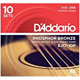 D'Addario EJ17 Phosphor Bronze Acoustic Guitar Strings, Medium (10 Pack) – Corrosion-Resistant Phosphor Bronze, Offers a Warm, Bright and Well-Balanced Acoustic Tone and Comfortable Playability