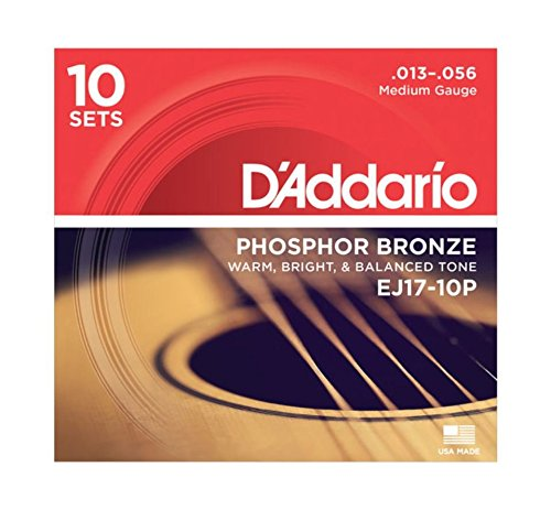 D'Addario EJ17 Phosphor Bronze Acoustic Guitar Strings, Medium (10 Pack) - Corrosion-Resistant Phosphor Bronze, Offers a Warm, Bright and Well-Balanced Acoustic Tone and Comfortable Playability