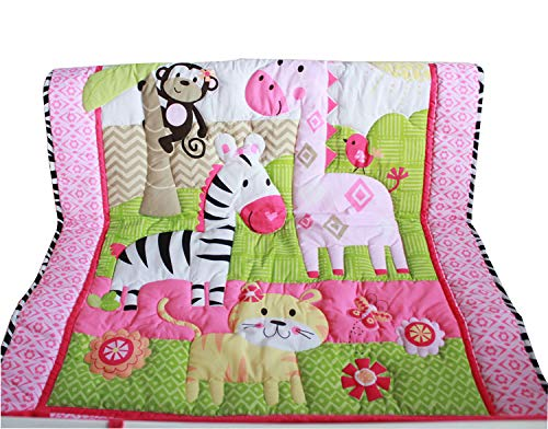 Applique Crib Quilt - WINLIFE Crib Bedding Set for Girls & Boys Crib Quilts 33''x42'' Baby Quit for Girls (Pink)