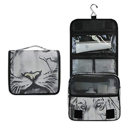 (Black And White Watercolor Tiger Head Hanging Travel Toiletry Bag for Women Men | Hygiene Bag | Bathroom and Shower Organizer for Toiletries, Cosmetics, Makeup, Brushes)