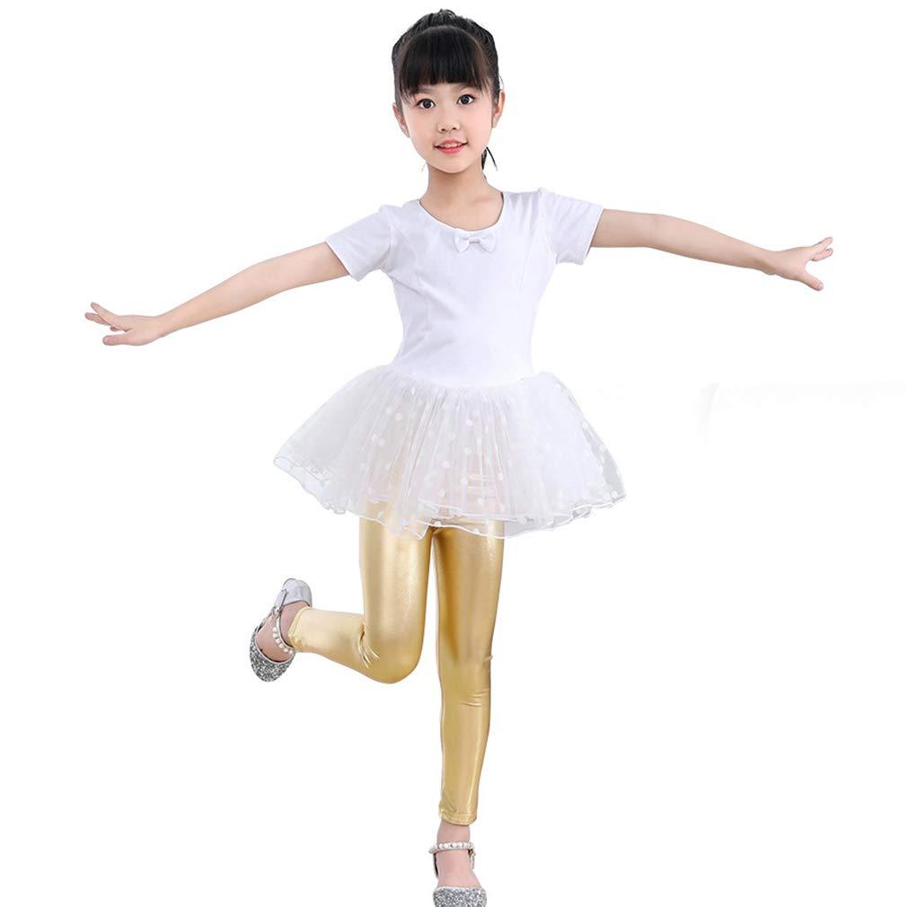 Mxssi Pantaloni Bambina Bambini Leggings Skinny Tinta Unita Lucidi Pantaloni Bambina Bambini Oro Rosa Nero Argento Leggings