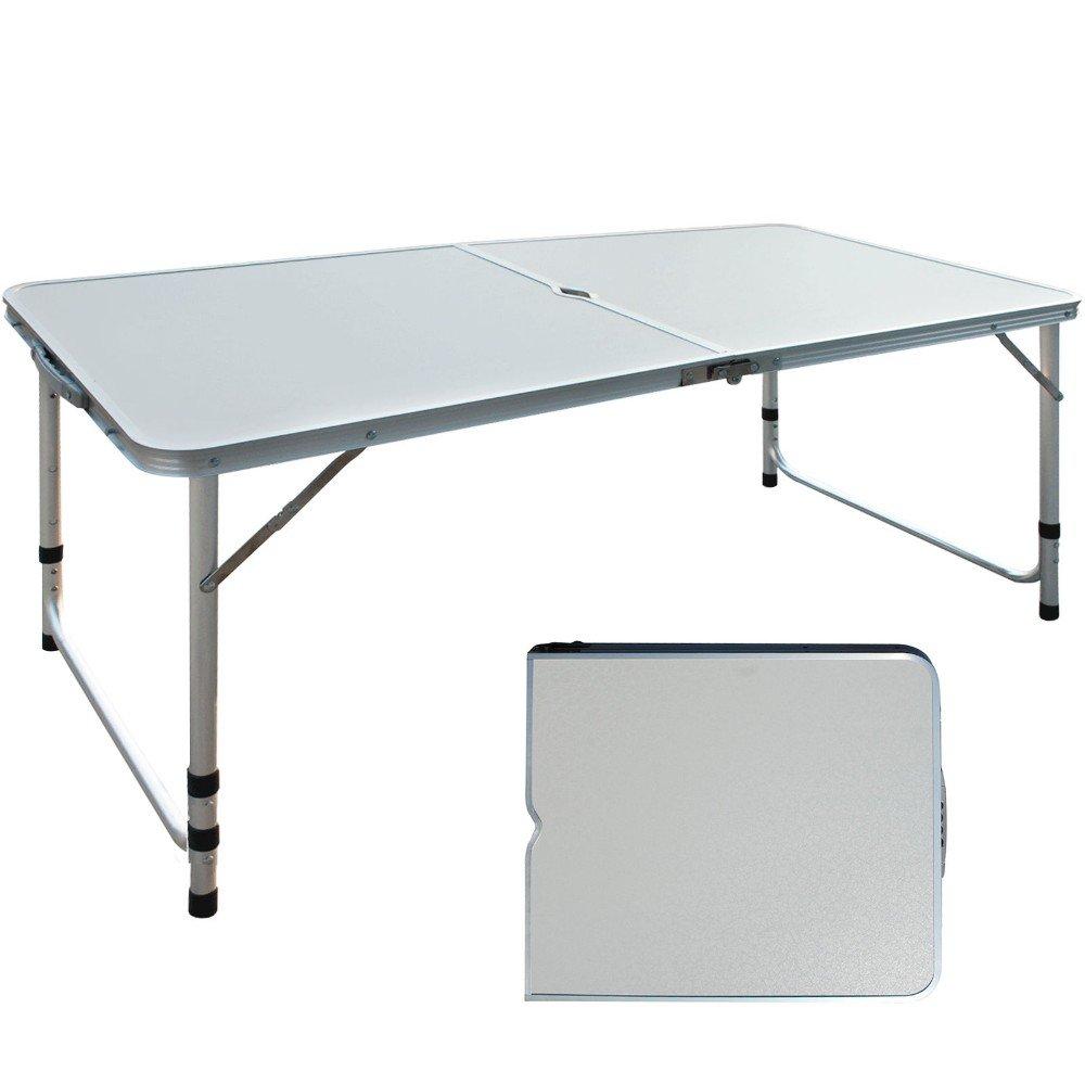 Aluminium Adjustable Camping Table Folding Portable Picnic Garden Patio Outdoor