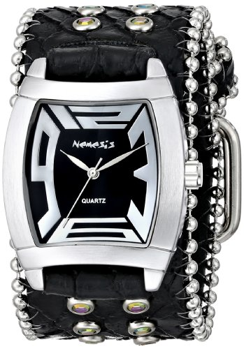 Nemesis Women's 2SB067K Stone Collection Black Animal Print Rugged - Silver Leather Black Animal Watch