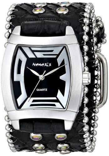 Nemesis Women's 2SB067K Stone Collection Black Animal Print Rugged - Silver Leather Black Watch Animal